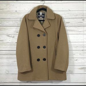Lands End Tan Virgin Wool Peacoat Size 14